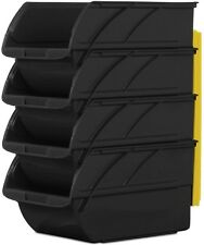 4-Pack Black Stackable Storage Bins Shop Garage Utility Plastic Parts Heavy Duty