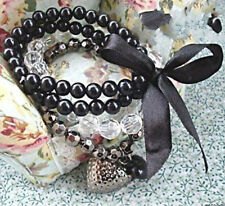 Fashion Women's Multilayer Black Bead Crystal Ribbon Bracelet Bangle Jewelry