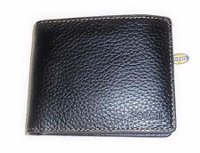 NEW FOSSIL CAMDEN BLACK PEBBLED LEATHER PASSCASE+CLEAR ID POCKET MENS WALLET