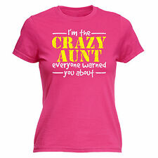 CRAZY AUNT WARNED WOMENS T Shirt - funny slogan fashion tee auntie