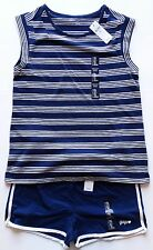 New Gap kids outfit t shirt pull on shorts girls size XXL 2XL blue white logo