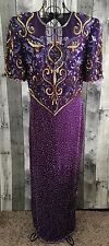Vintage Laurence Kazar 100% Silk Sequin Beaded Evening Gown Dress Lined Large