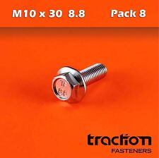 M10 x 30 Flange Bolt High Tensile 8.8 Metric 10mm 30mm Zinc Plated Hexagon Screw