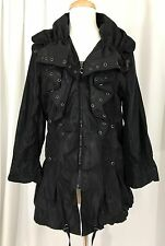 NWT Flair Brand Black Ruffle Front Fashion Rain Coat Jacket Tiny Polka Dot M