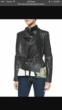 Sass & Bide Asymmetrical Leather Jacket Size  44