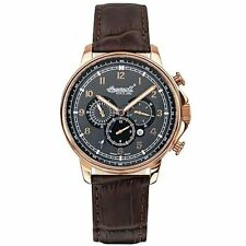 Ingersoll IN3215RGY Men's Watch Automatic Grey Dial Brown Leather Strap Russell