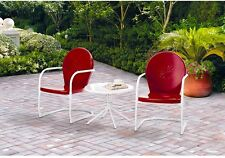 Retro Vintage Bistro Set 3 Piece Red Metal Spring Patio Table and Chairs Seats 2