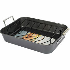 Large Roaster Non Stick Cooking Oven Baking Roasting Tray Tin Pan V Shape Rack