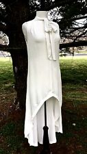 NEW Free People Ivory Drapy Rayon Mini Maxi Swing Tunic Dress tie neck M