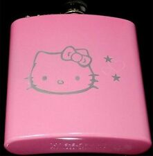 Hello Kitty Engraved Pink 6oz Glitter Painted Favor Hip Flask Liquor FEN-0016