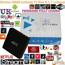 New 16.1 Quad Core Untethered QA86 Android TV Box Fully Loaded replace Smart TV
