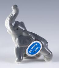 Vintage Bug House Miniature Bone China Elephant Figurine Glossy Finish Trunk Up