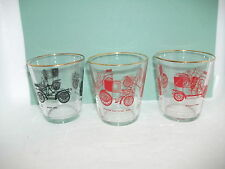 3 vintage car drinking glasses/tumblers each 8.5cm high