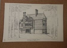 Antique Architects print Additions To Pinewood Witley the architect 1875