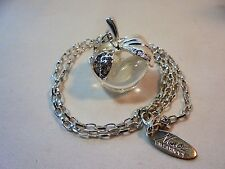 Nina Ricci Apple Pendant Necklace Clear Lucite/Acrylic Rhinestones Silver Plated