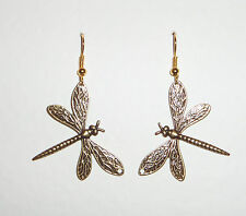 LOVELY MEDIUM SIZE ART NOUVEAU STYLE DARK GOLD PLATED DRAGONFLY EARRINGS