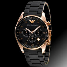 NEW Mens Emporio Armani Black and Gold Chronograph Watch AR5905