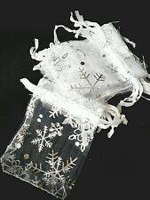 20 x Christmas White with Silver Snowflake ORGANZA GIFT BAGS FAVOURS 9 x 7 cm