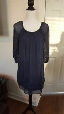 PRONTOMODA GIUSY MADE IN ITALY 100 % SILK TUNIC DRESS NAVY Size S-M