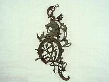 Antique Iron Decoration Part Rococo Style Horse Whip Horseshoe from Coach *844