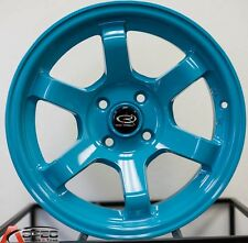 15X9 ROTA GRID WHEELS 4X100 WHEELS +36MM TEAL BLUE COLOR (SET OF 4 )