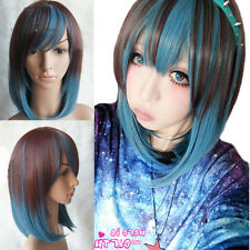 fashion cosplay party short straight full wigs brown+blue mix hair lolita wig