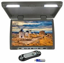 "Rockville RVM18FD-GR 18"" TFT Grey Flip Down Car Monitor w/ USB/SD/Video Games"