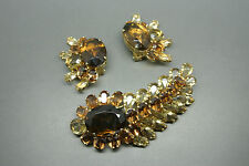 Vintage Rare Christian Dior 1958 brown crystal earrings brooch set