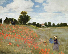 Claude Monet Women in Red Poppy Field Oil Painting Real Canvas Art Print New