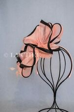 Pink Black Sinamay Flower Feather Millinery Fascinator Hatinator Headband