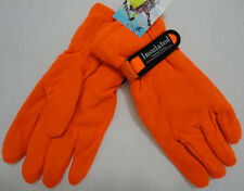 24 Pairs Mens HUNTER ORANGE Fleece Gloves WARM Thermal Insulated Winter Glove