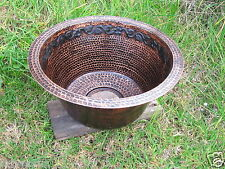 Copper Hand Hammered Round Mexican Traditional Bar Sink 15x7 Flower Guide