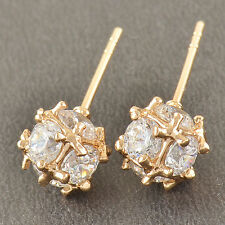 Shiny 14K Solid Gold Filled Cubic Zirconia Megic Ball Ladies Stud earing