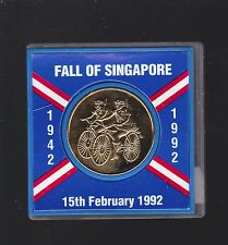 World War 11 Medal 1942 1992 Fall Singapore Japanese Invaders Soldier bicycle