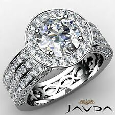 Halo Pre-Set Round Diamond 3 Row Engagement Ring GIA G VS1 18k White Gold 2.85ct