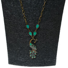 Fashion Emerald-green Peacock Pendant Necklace Long Chain Gifts