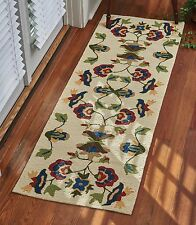 Elegant, Traditional Vine and Blossom Hooked Rug Runner, 24x72, Indoor/Outdoor