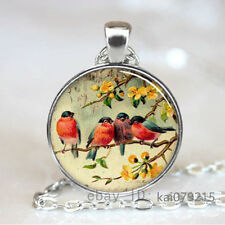 Vintage Bird Cabochon Tibetan silver Glass Chain Pendant Necklace