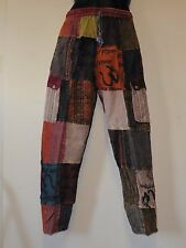 Nepalese Stripe Patchwork Cotton Yoga/Lounge Trousers Unisex XL (TPW5)
