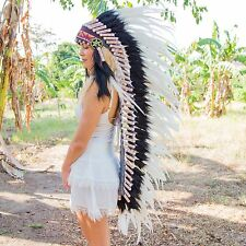 INDIAN HEADDRESS Chief War bonnet Costume Native American Halloween Feather Kids