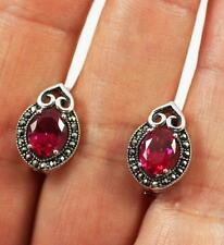 Stunning Solid 925 Sterling Silver, Cut Ruby, Marcasite Stud Earrings + box