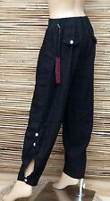 LAGENLOOK LINEN QUIRKY BOHO HAREM OVERSIZE TROUSERS/PANTS*BLACK*SIZE M-L