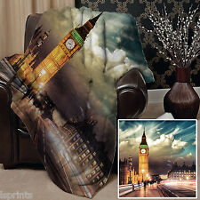 BIG BEN LONDON DESIGN WEICH FLEECE DECKE HÜLLE SOFABETT DECKE
