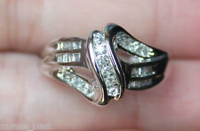 New 10K 1/4 Diamond swirling ribbon Size 6.75 Wedding Band Ring White Gold
