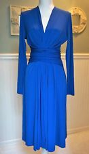 NWT MICHAEL Michael Kors Longsleeve Faux Wrap Dress ROYAL BLUE Size 4, $120.-