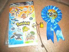 4 pokemon items-stickers, necklace,banner, coin