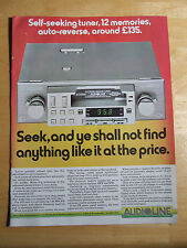AUDIOLINE 432 CAR RADIO CASSETTE  ADVERT READY TO FRAME A4 SIZE
