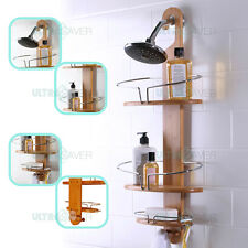 NEW Bathroom Bamboo Shower Caddy Stainless Steel with Hang Hook Shower Organiser