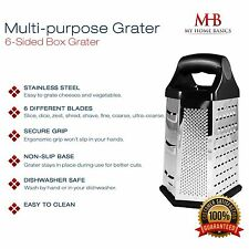 Cheese Grater, Food Slicer and Veggie Zester, 6 Sided, Stainless Steel