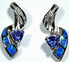 Trillion Tanzanite & Blue Fire Opal Inlay 925 Sterling Silver Post Earrings